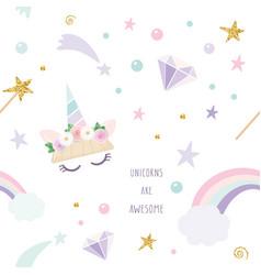 unicorn magic seamless pattern background vector image