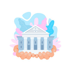 Us supreme court building flat vector
