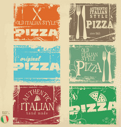 vintage pizza labels collection vector image