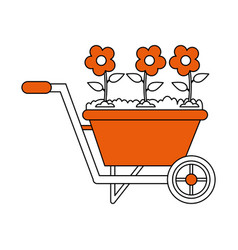 Wheelbarrow gardening tool icon image vector