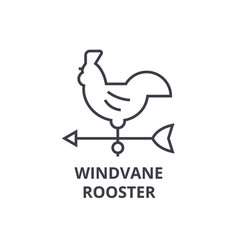 windvane rooster line icon outline sign linear vector image
