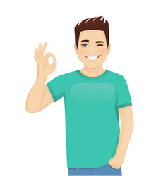 young man gesturing ok sign vector image
