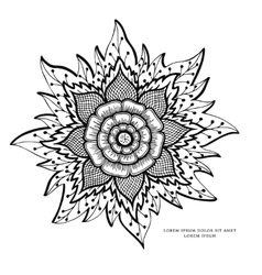 Zen tangle flower mandala vector