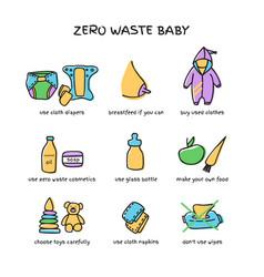 Zero waste baby elements doodle vector