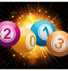 2013 bingo lottery balls background with gold star vector image vector image