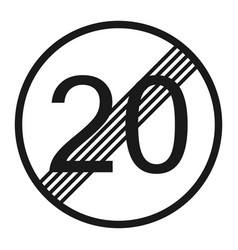 end maximum speed limit 20 sign line icon vector image