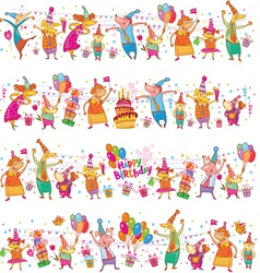 Happy birthday cartoon border vector image vector image