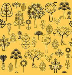 plants flowers and trees with black line on white vector image vector image
