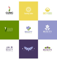 Set of beauty logo templates icons of flowers vector