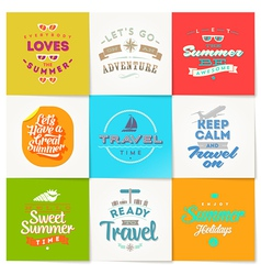 Set of travel and vacation type design vector image vector image