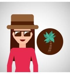 toursit female hat sunglasses palm tree vector image