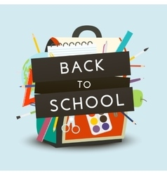Back to School concept Backpack with school vector image