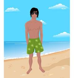 brawny man on beach vector image