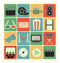 flat icons movie vector image