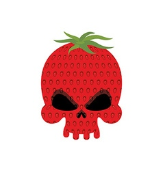 Ripe Strawberry skull Red head skeleton with vector image vector image