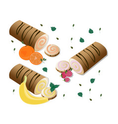 roll cakes with fruits sweets dessert vector image