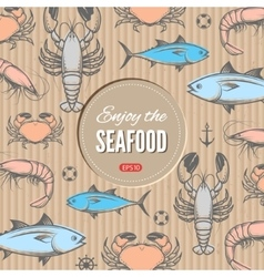 Seafood design template vector image