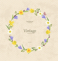 vintage card with round frame of spring flowers vector image vector image