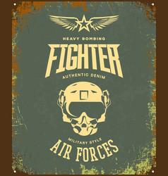 Vintage fighter pilot helmet logo isolated vector