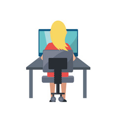 young woman working on computer vector image