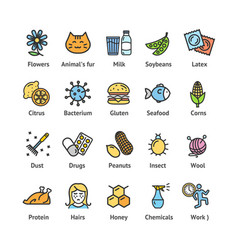 Allergens signs color thin line icon set vector