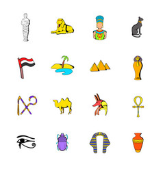egypt icons set cartoon vector image