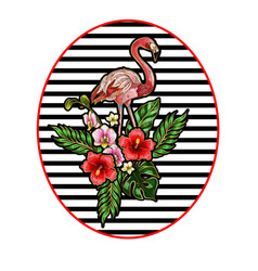 flamingo embroidery patches vector image vector image