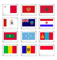 Official National Flags on Metal Texture Plates vector image