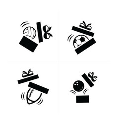 set black sport drop in gift icons vector image