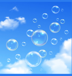 Soap Bubbles Blue Sky Realistic Background vector image vector image