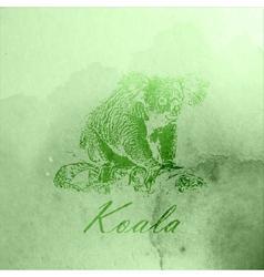 vintage of a green watercolor koala bear on the vector image vector image