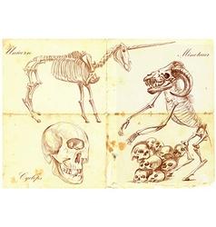 An hand drawn Unicorn Cyclops Minotaur vector image