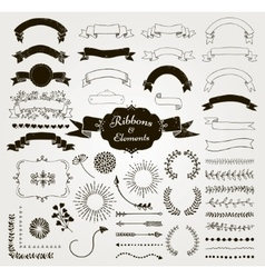 Black Hand Drawn Design Elements and vector image vector image