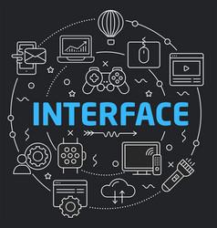 black line flat circle interface vector image