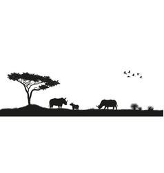 Black silhouette of rhinoceroses in savannah vector