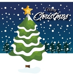 christmas card tree snow star snowfall vector image