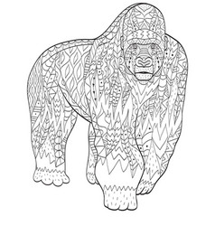 coloring gorilla animal for adults vector image vector image