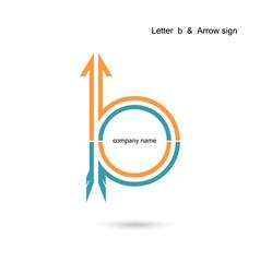 Creative letter B icon abstract logo design vector image