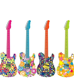 Flower power electric guitars vector image