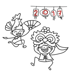 hand drawn cartoon Chinese people Chinese new year vector image vector image