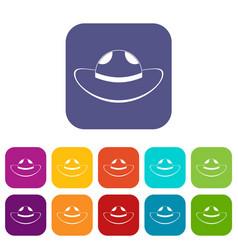 Sea hat icons set flat vector