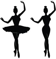 woman ballet dancer silhouette vector image vector image