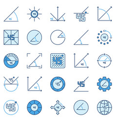 45 degree colored icons - degrees angle vector