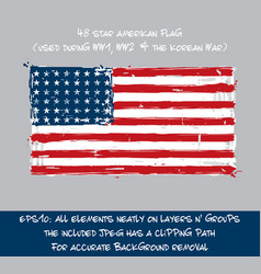 48 star american flag flat - artistic brush vector