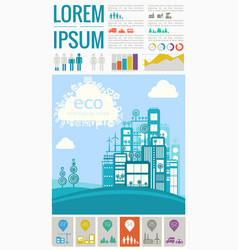 Abstract cityscapes infographics town city vector
