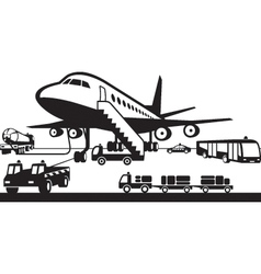 Airport support vehicles vector