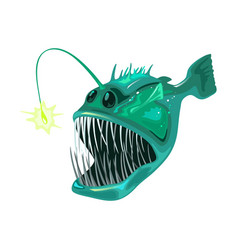 Anglerfish is bony predatory fish marine animal vector