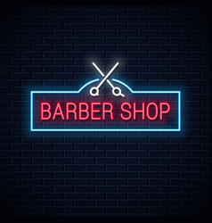 barber shop neon sign with scissors neon vector image