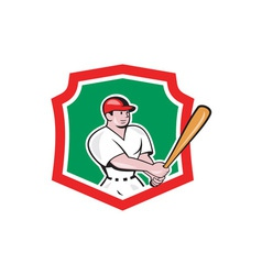 Baseball player batting crest cartoon vector