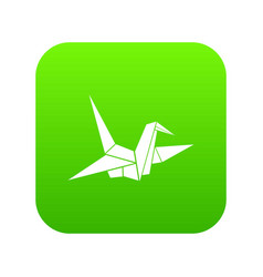 bird origami icon digital green vector image
